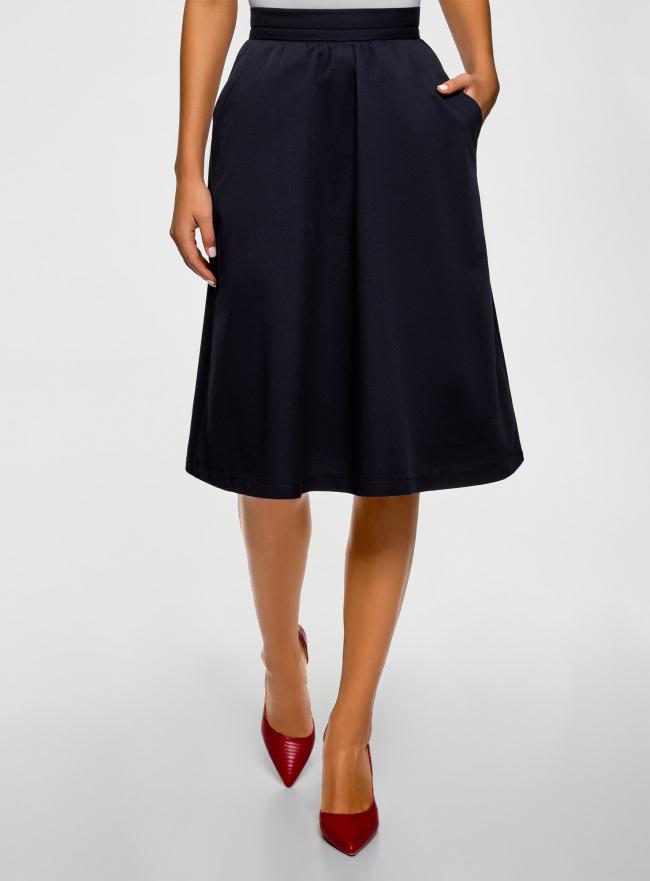 Юбка хлопковая A-образного силуэта oodji для женщины (синий), 11600420-3/42841/7900N