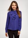 Блузка из струящейся ткани с воланами oodji #SECTION_NAME# (синий), 21411090/36215/7500N - вид 2