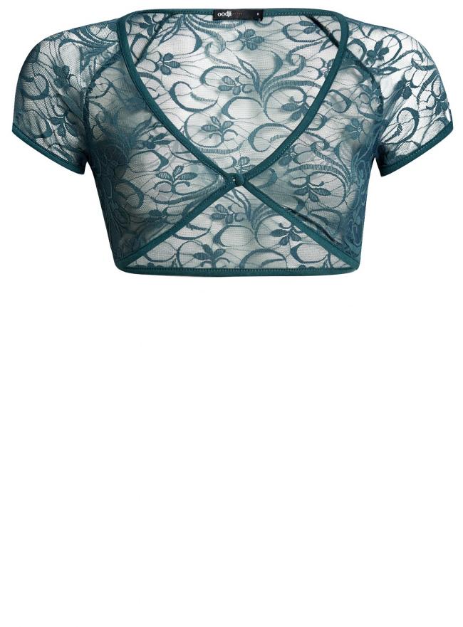 Жакет-болеро кружевной на пуговице oodji для женщины (зеленый), 14607001-1/24438/6C00N