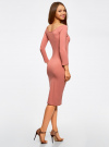 Платье облегающее с вырезом-лодочкой oodji #SECTION_NAME# (розовый), 14017001-6B/47420/4B00N - вид 3