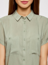 Блузка из вискозы с нагрудными карманами oodji #SECTION_NAME# (зеленый), 11400391-4B/24681/6000N - вид 4