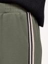 Брюки прямые с лампасами oodji для женщины (зеленый), 16701079/49851/6896B