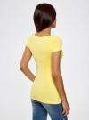 Футболка базовая приталенная oodji для женщины (желтый), 14701005-7B/46147/6700N - вид 3