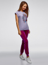 Брюки спортивные на завязках oodji для женщины (фиолетовый), 16701052B/47883/4C01N