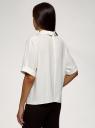 Блузка из струящейся ткани с коротким рукавом oodji для женщины (белый), 11405147/48728/1200N