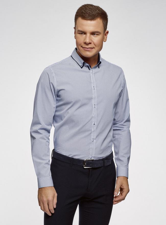 Рубашка хлопковая с контрастной отделкой oodji #SECTION_NAME# (синий), 3L110330M/19370N/1079G