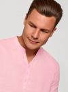 Рубашка льняная без воротника oodji #SECTION_NAME# (розовый), 3B320002M/21155N/4000N - вид 4
