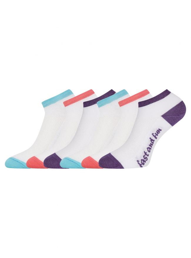 Комплект укороченных носков (6 пар) oodji для женщины (разноцветный), 57102605T6/48022/14