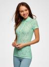Поло из фактурной ткани с вышивкой oodji для женщины (зеленый), 19301006/46656/6500O - вид 2