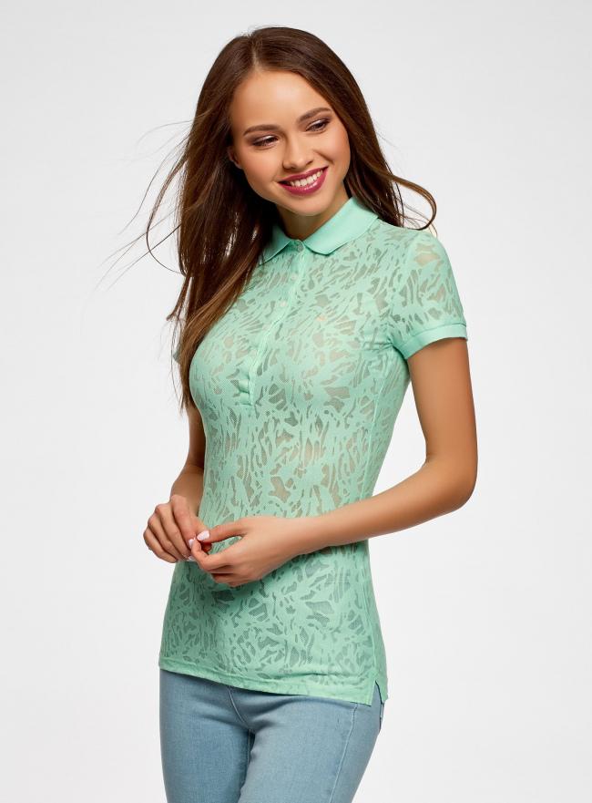 Поло из фактурной ткани с вышивкой oodji для женщины (зеленый), 19301006/46656/6500O