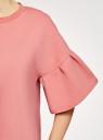 Платье прямого силуэта с воланами на рукавах oodji #SECTION_NAME# (розовый), 14000172B/48033/4B00N - вид 5