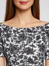 Платье трикотажное с вырезом-лодочкой oodji #SECTION_NAME# (белый), 14007026-1/37809/1029F - вид 4