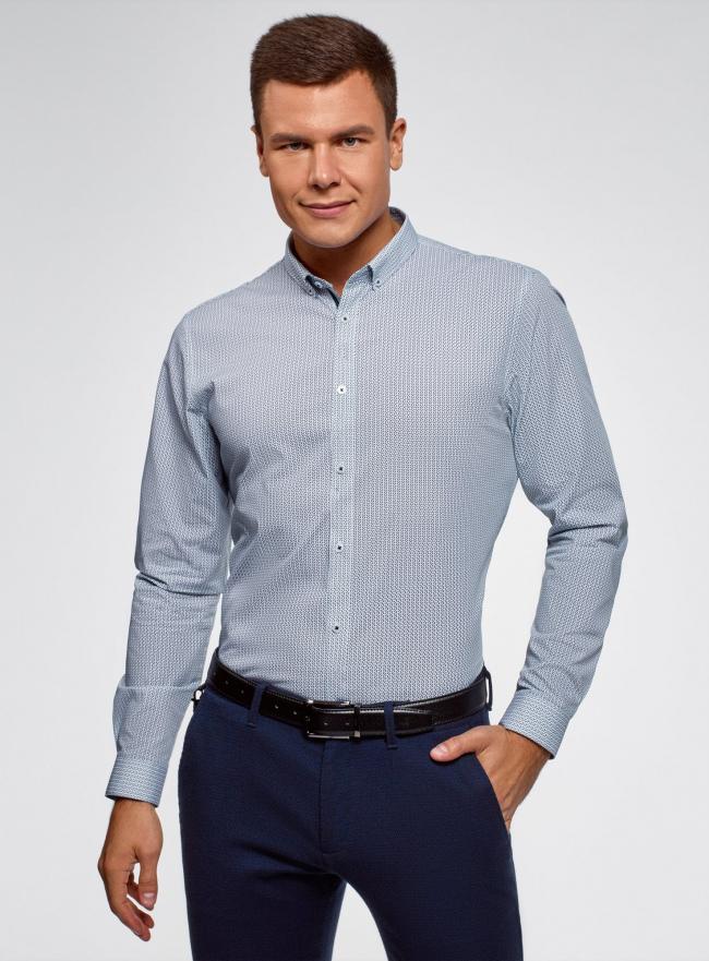 Рубашка приталенного силуэта из хлопка oodji #SECTION_NAME# (синий), 3L110328M/44425N/1075G