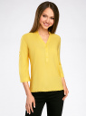 Блузка вискозная с рукавом-трансформером 3/4 oodji #SECTION_NAME# (желтый), 11403189-2B/26346/5100N - вид 2