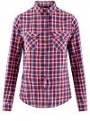 Рубашка в клетку с карманами oodji #SECTION_NAME# (красный), 11400433-1/43223/7445C