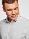 Рубашка хлопковая с контрастной отделкой воротника oodji #SECTION_NAME# (белый), 3B110031M/44425N/1079D - вид 4