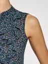 Топ из струящейся ткани с воланами oodji для женщины (синий), 21411106/17358/7941F