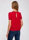 Блузка с коротким рукавом и контрастной отделкой oodji #SECTION_NAME# (красный), 11401254/42405/4500N - вид 3