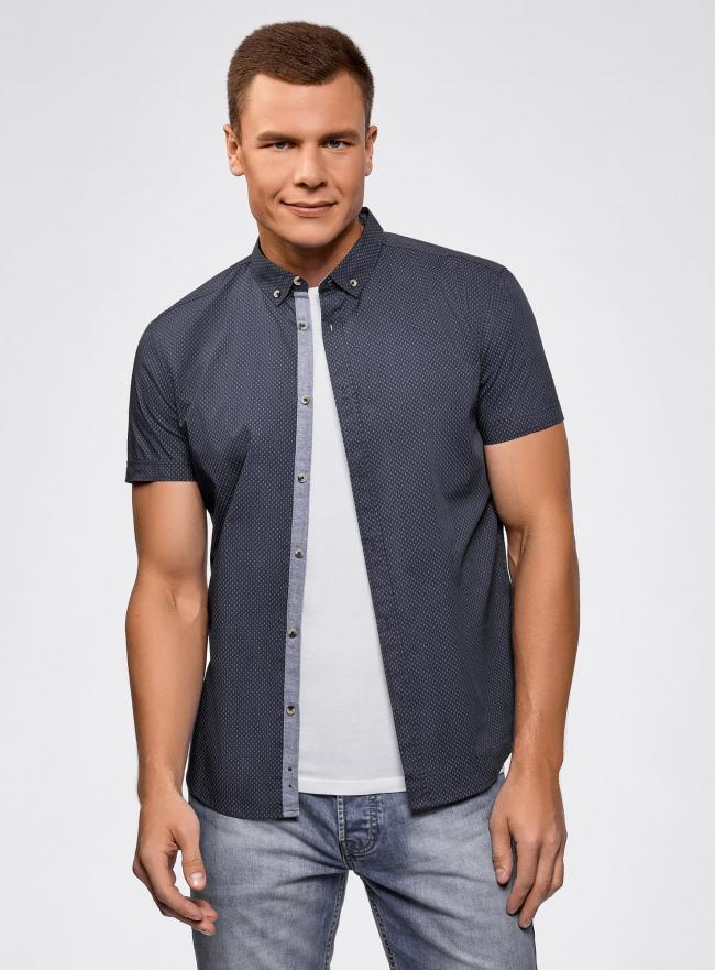 Рубашка приталенная с мелкой графикой oodji #SECTION_NAME# (синий), 3L410114M/48244N/7975G