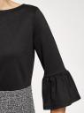 Платье комбинированное с воланами на рукавах oodji #SECTION_NAME# (черный), 14001252/46944/2919B - вид 5