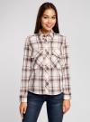 Рубашка в клетку с нагрудными карманами oodji #SECTION_NAME# (белый), 11411052-2/45624/7912C - вид 2