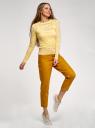 Лонгслив трикотажный прямого силуэта oodji для женщины (желтый), 14201046-1/33520/5200N