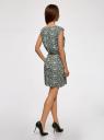 Платье принтованное из вискозы oodji #SECTION_NAME# (зеленый), 11910073-2/45470/6E12F - вид 3