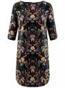 Платье принтованное прямого силуэта oodji для женщины (черный), 21900322-1/42913/2919F