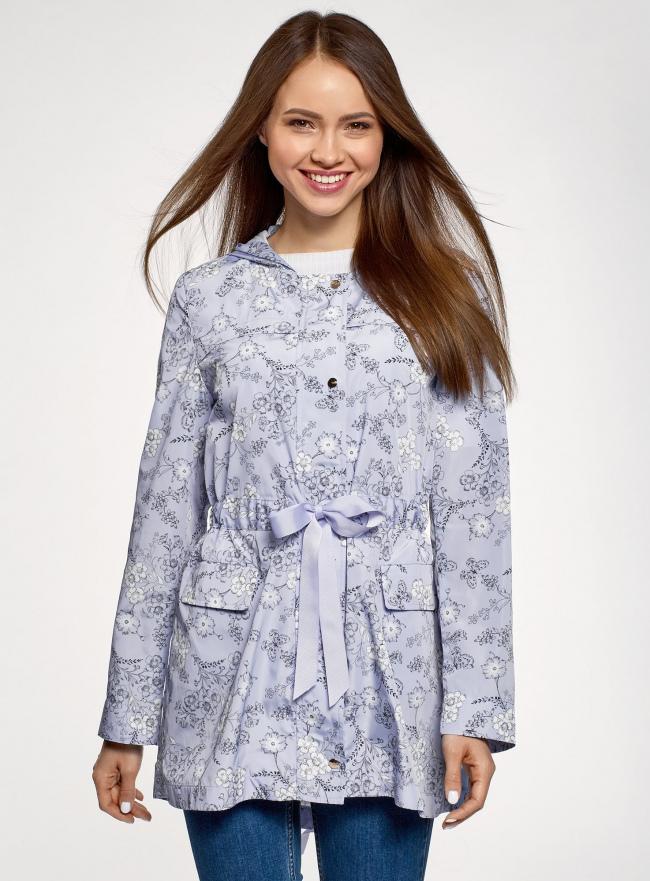 Куртка удлиненная на кулиске oodji #SECTION_NAME# (синий), 11D03006/24058/7012F