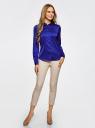 Блузка приталенного силуэта из атласной ткани oodji для женщины (синий), 21401243-1/38413/7500N