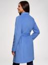 Пальто без застежки с поясом oodji для женщины (синий), 10104042-1/47736/7500N