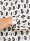 Блузка принтованная из вискозы с воротником-стойкой oodji #SECTION_NAME# (слоновая кость), 21411063-1/26346/1275E - вид 5