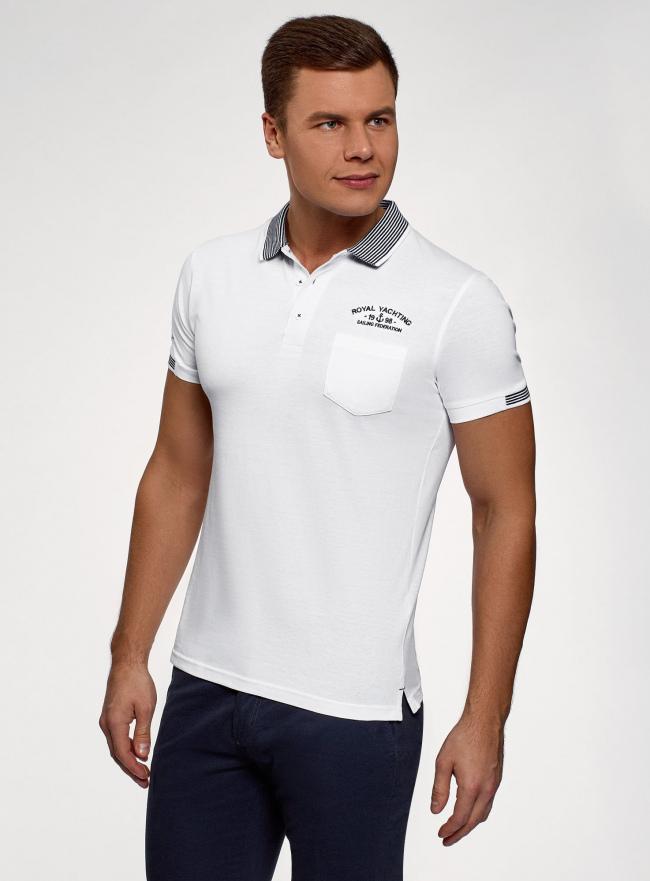 Поло хлопковое с нагрудным карманом oodji для мужчины (белый), 5L412290M/34149N/1079B