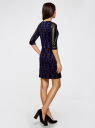 Платье с флоком и отделкой из искусственной кожи oodji для женщины (синий), 14001143-3/42376/7529O