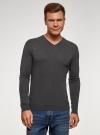 Пуловер базовый с V-образным вырезом oodji #SECTION_NAME# (серый), 4B212007M-1/34390N/2500M - вид 2