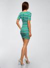 Платье прилегающего силуэта в рубчик oodji #SECTION_NAME# (зеленый), 14011012/45210/6910S - вид 3
