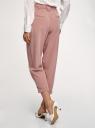 Брюки с защипами на поясе oodji для женщины (розовый), 11704023/18600/4A01N