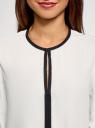Блузка из струящейся ткани с контрастной отделкой oodji #SECTION_NAME# (белый), 11411059B/43414/1229B - вид 4