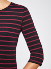 Платье трикотажное в полоску oodji #SECTION_NAME# (синий), 14001162-1/43603/7949S - вид 5