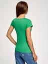 Комплект из двух базовых футболок oodji для женщины (зеленый), 14701008T2/46154/6A00N