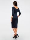 Платье облегающее с вырезом-лодочкой oodji #SECTION_NAME# (синий), 14017001/42376/7900N - вид 3