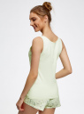 Пижама с шортами принтованная oodji #SECTION_NAME# (зеленый), 56002187-6/47692/6783P - вид 3