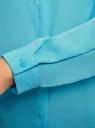 Блузка из струящейся ткани oodji #SECTION_NAME# (бирюзовый), 11400368-3/32823/7300N - вид 5