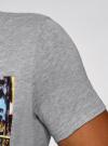 Футболка хлопковая с принтом oodji #SECTION_NAME# (серый), 5L611031I/44135N/2375P - вид 5