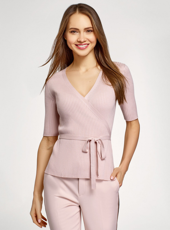 Кардиган в резинку с запахом oodji для женщины (розовый), 63212608/33506/4A00N