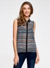Топ из струящейся ткани с контрастной отделкой oodji для женщины (разноцветный), 14903001-1B/42816/2975G - вид 2