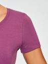 Футболка базовая с декором из страз oodji для женщины (фиолетовый), 14701005-19/46147/8393P