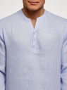 Рубашка льняная без воротника oodji #SECTION_NAME# (синий), 3B320002M/21155N/7000N - вид 4