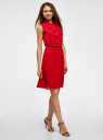 Платье из струящейся ткани с жабо oodji #SECTION_NAME# (красный), 21913018/36215/4500N - вид 6