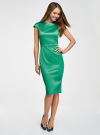Платье-футляр с вырезом-лодочкой oodji #SECTION_NAME# (зеленый), 11902163-1/32700/6E00N - вид 2